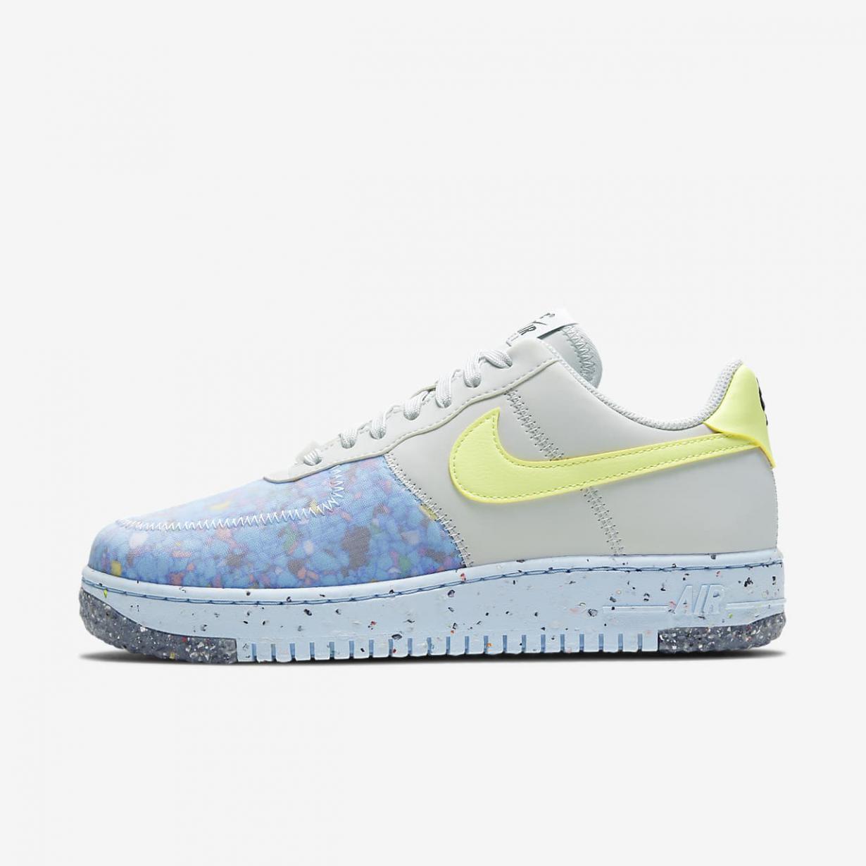 Lifestyle Femme   Air Force 1 Crater Platine pur/Blanc sommet/Chambray bleu/Jaune pâle électrique   Nike < Gooddaytricities