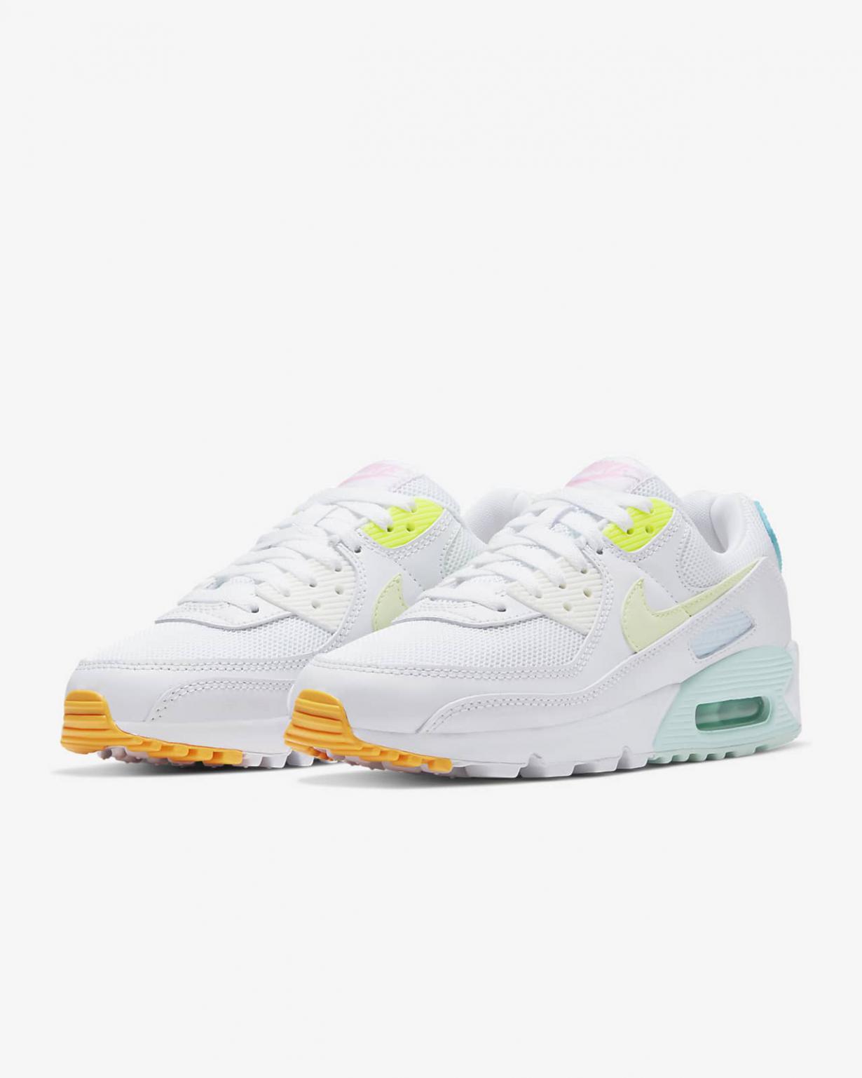Lifestyle Femme   Air Max 90 Blanc/Vert aurore/Volt/Jaune pâle électrique   Nike < Gooddaytricities