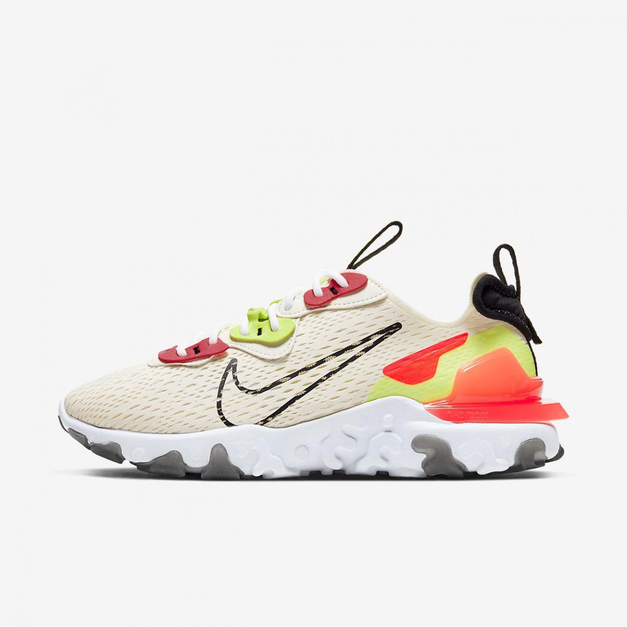Lifestyle Femme   React Vision Ivoire Pâle/Volt/Cramoisi laser/Noir   Nike < Gooddaytricities
