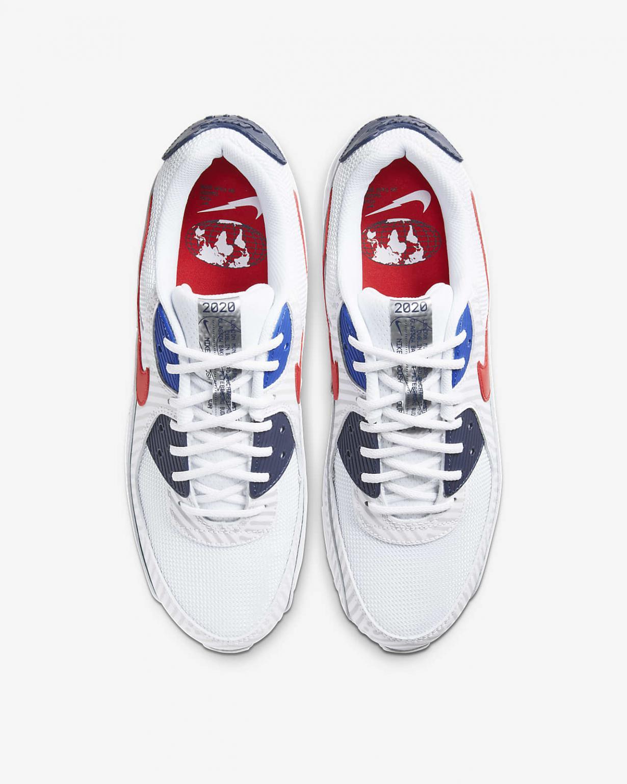 Lifestyle Homme | Air Max 90 Blanc/Bleu nuit marine/Bleu brillant/Rouge université | Nike < Gooddaytricities