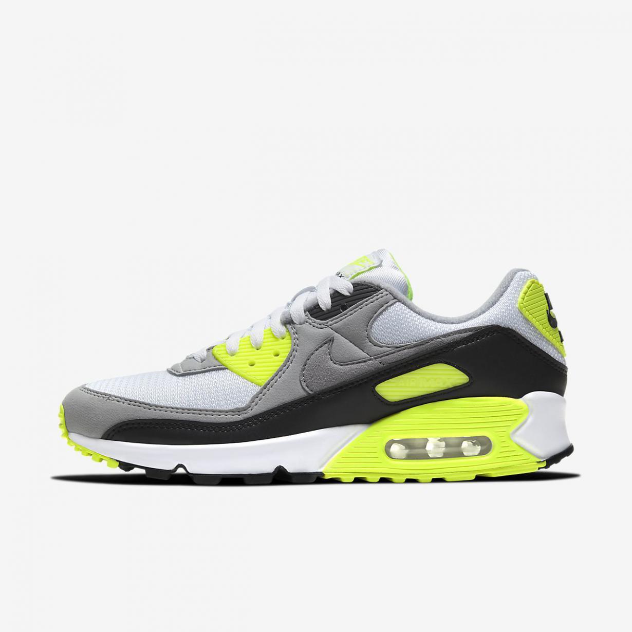 Lifestyle Homme | Air Max 90 Blanc/Volt/Noir/Gris particule | Nike ...